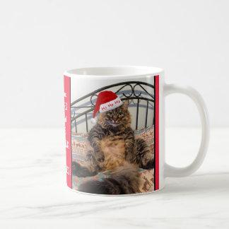 Santa Cat Gets Milk and Cookies Christmas Mug