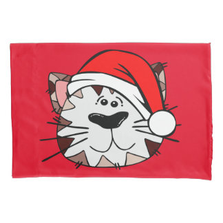 Santa Cat Single Pillowcase, Standard Size Pillowcase