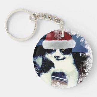 Santa Cat with mustache  Christmas Keychain