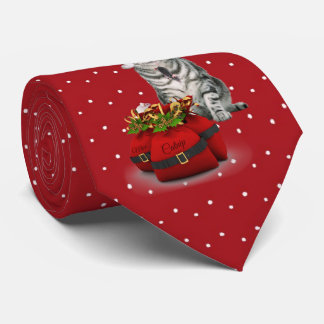 Santa Cat with Red and White Polkadot Tie