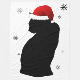 Santa Cat with Snow Fleece Blanket