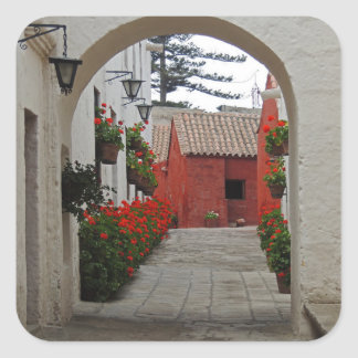 Santa Catalina Monastery in Arequipa Peru Square Sticker