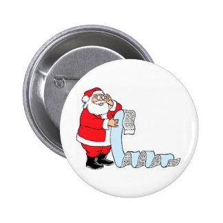 Santa Checking List Pinback Button