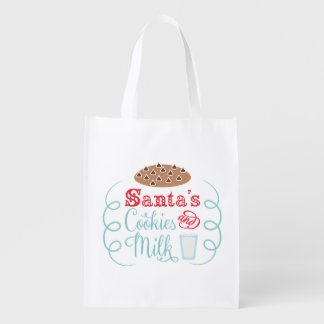 Santa chocolate chip cookies with milk reusable grocery bag