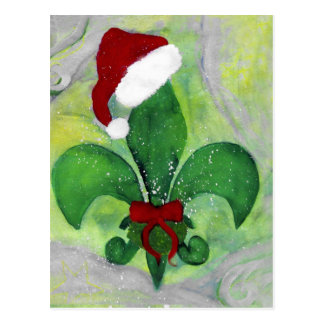 Santa Christmas Fleur de lis Holiday Card