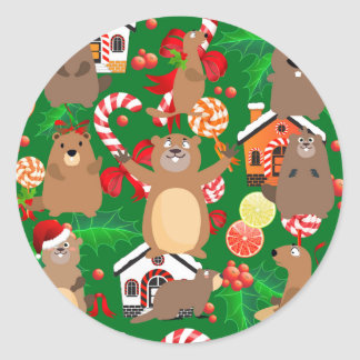 Santa christmas gopher classic round sticker