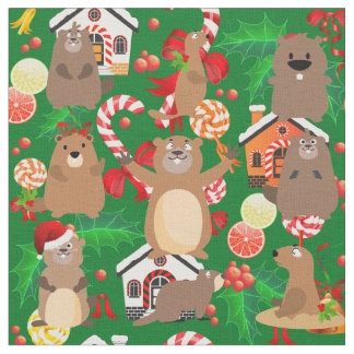 Santa christmas gopher fabric