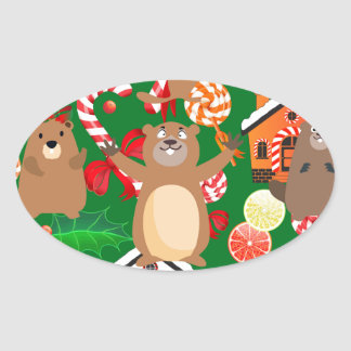 Santa christmas gopher oval sticker