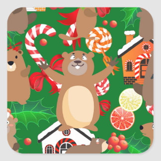 Santa christmas gopher square sticker