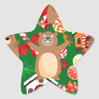 Santa christmas gopher star sticker