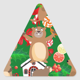 Santa christmas gopher triangle sticker