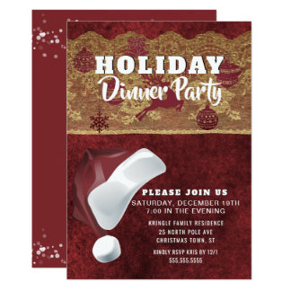 Santa Christmas Holiday Dinner Party Invitation