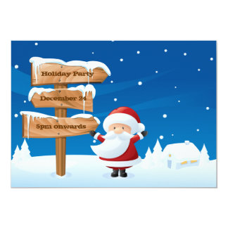 "Santa Christmas Holiday Party Invitation Card 5"" X 7"" Invitation Card"