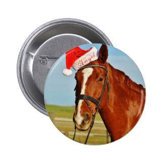 Santa Christmas Horse 6 Cm Round Badge