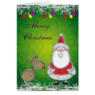 Santa Christmas Lights & Snowflakes Card