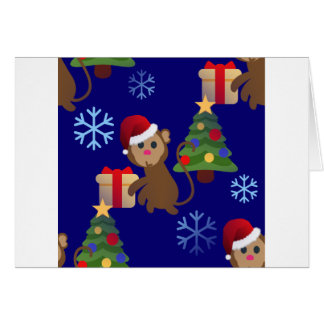 santa christmas monkey emoji card
