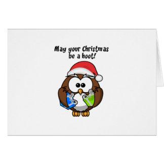 Santa Christmas Owl Greeting Card