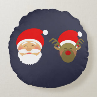 Santa & Christmas Reindeer Cartoon Cute Funny Cool Round Cushion