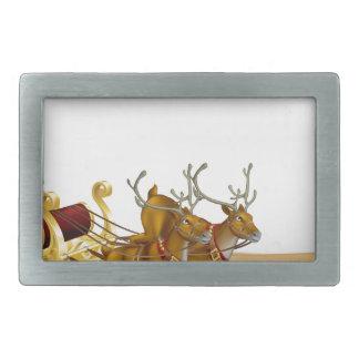 Santa Christmas Sleigh Background Belt Buckles
