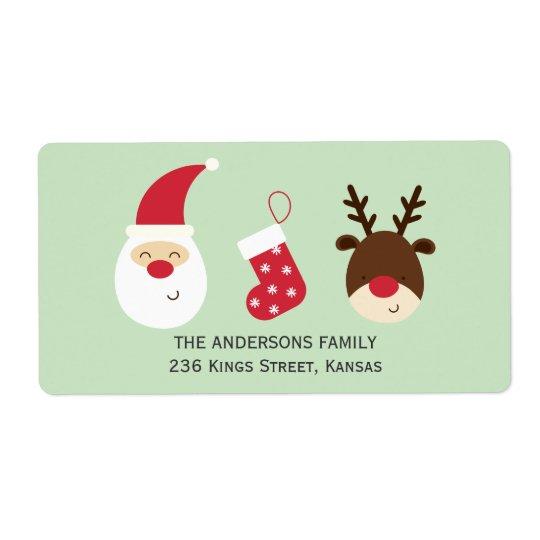 Santa, Christmas stocking and reindeer Shipping Label