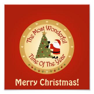 Santa Christmas Tree Photo Print