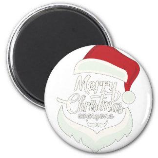 Santa Christmas White Minimalist Design Cute Gift 6 Cm Round Magnet