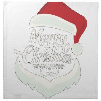 Santa Christmas White Minimalist Design Cute Gift Napkin
