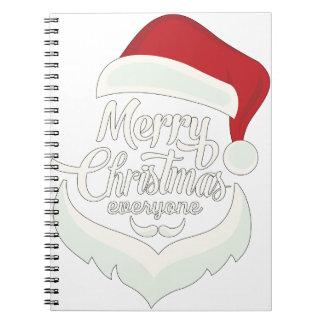 Santa Christmas White Minimalist Design Cute Gift Notebooks