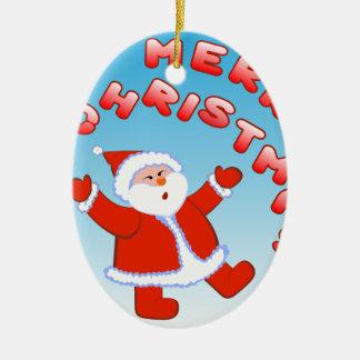 Santa Claus 5 Ceramic Oval Decoration