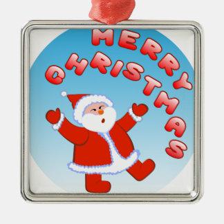 Santa Claus 5 Silver-Colored Square Decoration