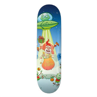 Santa Claus Abducted by a UFO just before Xmas Custom Skateboard