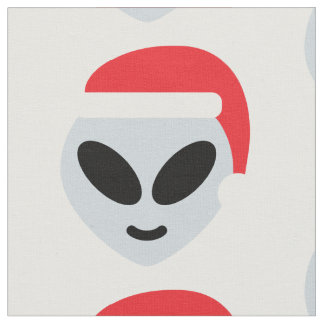 santa claus alien emoji fabric