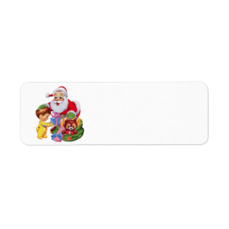 Santa Claus and a bag to toys Return Address Label