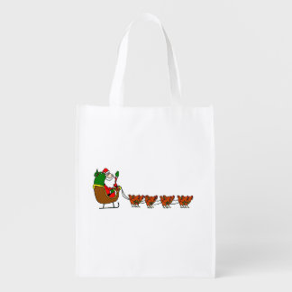 Santa Claus And Chickens Grocery Bag