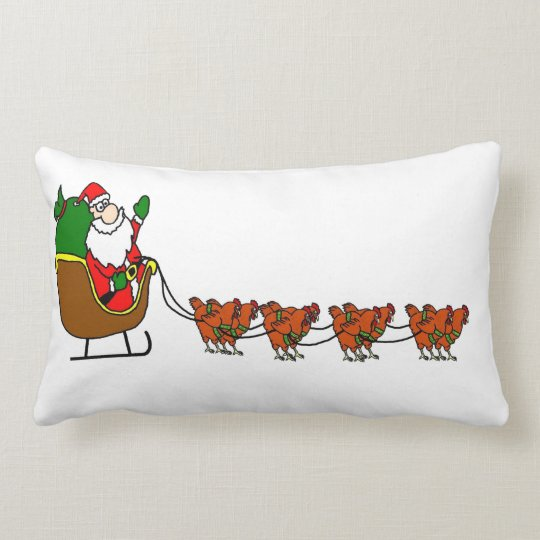 Santa Claus And Chickens Throw Pillow