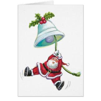 Santa Claus and Christmas Bell Greeting Card