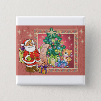 Santa Claus and Christmas Wish List 15 Cm Square Badge