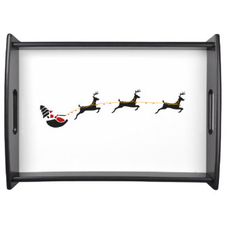 Santa Claus and Flying Reindeer Minimalist Serving Tray