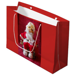 Santa Claus and Frosty The Snowman Retro Christmas Large Gift Bag