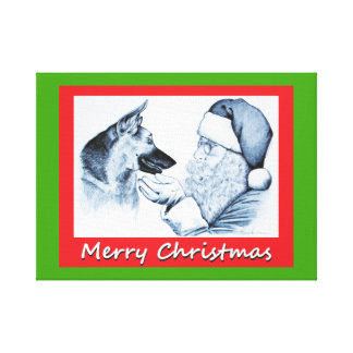 Santa Claus and German Shepherd for Christmas Canvas Print