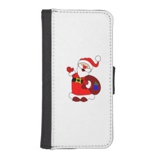 Santa Claus and gift bag clipart iPhone SE/5/5s Wallet Case