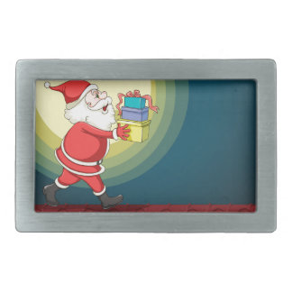 santa claus and gifts rectangular belt buckles