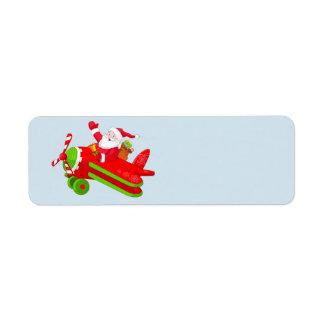 Santa Claus and his airplane Return Address Label