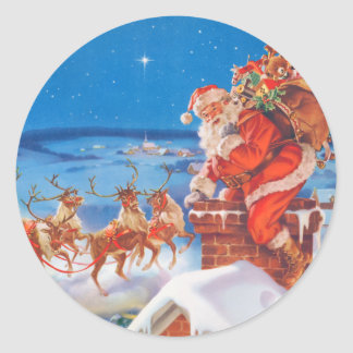 Santa Claus and his Mighty Reindeer Classic Round Sticker
