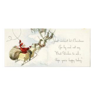 Santa Claus and his reindeer vintage illustration Custom Rack Cards