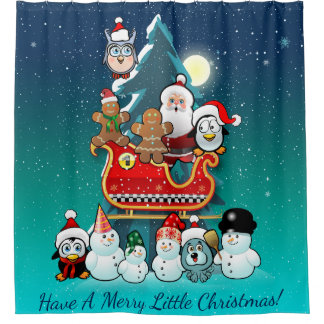 Santa Claus And His Sleigh By The Christmas Tree Shower Curtain