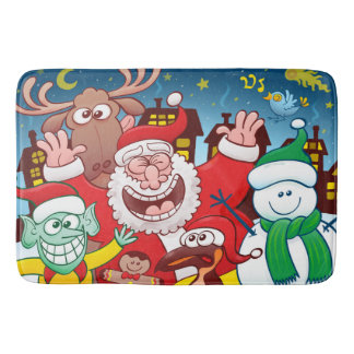 Santa Claus and his team are ready for Christmas Bath Mat