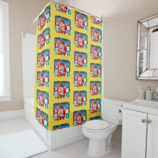 Santa Claus and his team are ready for Christmas Shower Curtain
