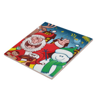 Santa Claus and his team are ready for Christmas Tile