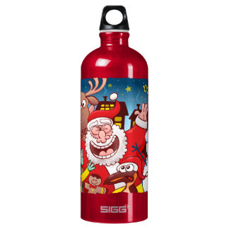 Santa Claus and his team are ready for Christmas Water Bottle